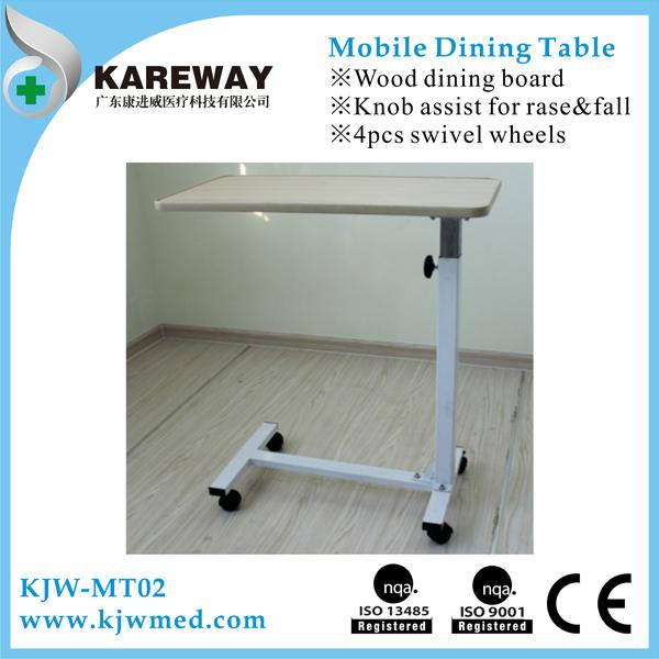 Adjustable Hospital Type Bedside Table Dining Table With 3 Inch Caster