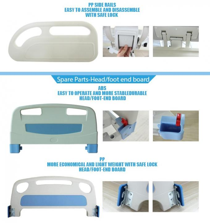 Powder Coated Steel Motorized Hospital Bed , 5 Inches Castors Electric Hospital Beds With Side Rails