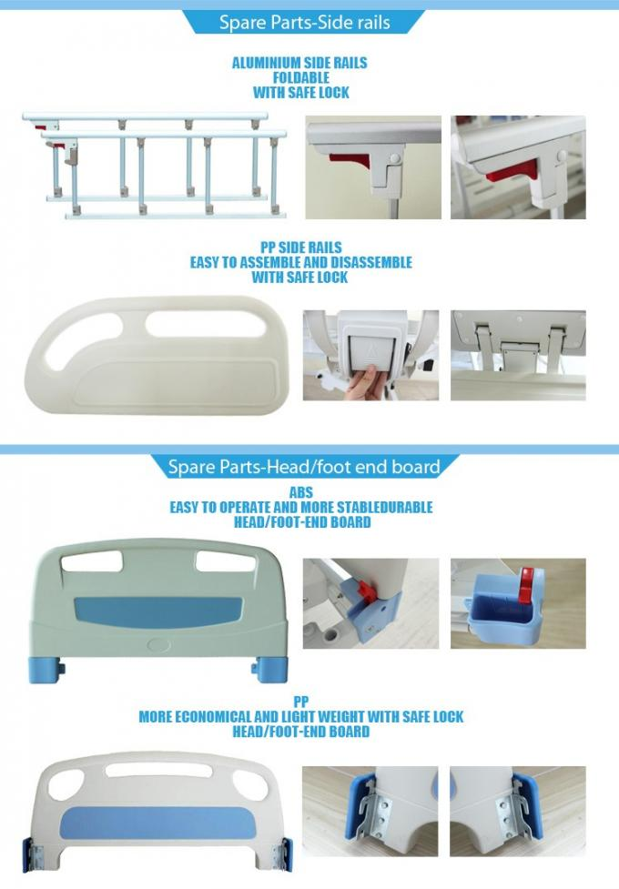 Aluminum Side Rails Manual Hospital Bed 2 Cranks With CE Approved , 1.2mm Thickness