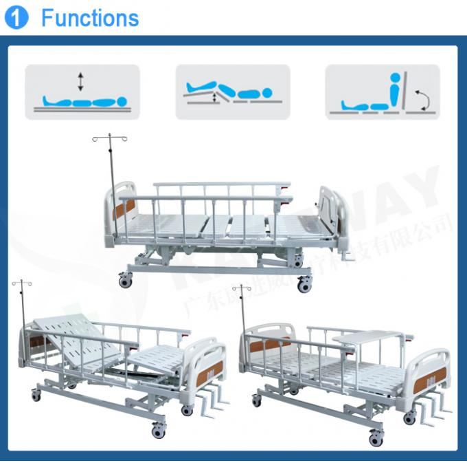 Three Cranks Mechanical Hospital Bed With ABS Dining Table For Nursing Home