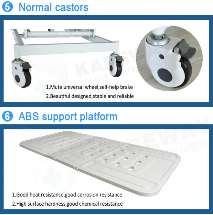 4 Inches Castors Hospital Patient Bed Three Functions With ABS Plastic Mattress