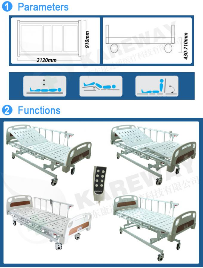 Three Positions Hospital Patient Bed , Remote Control Electric Care Bed CE FDA Certificates