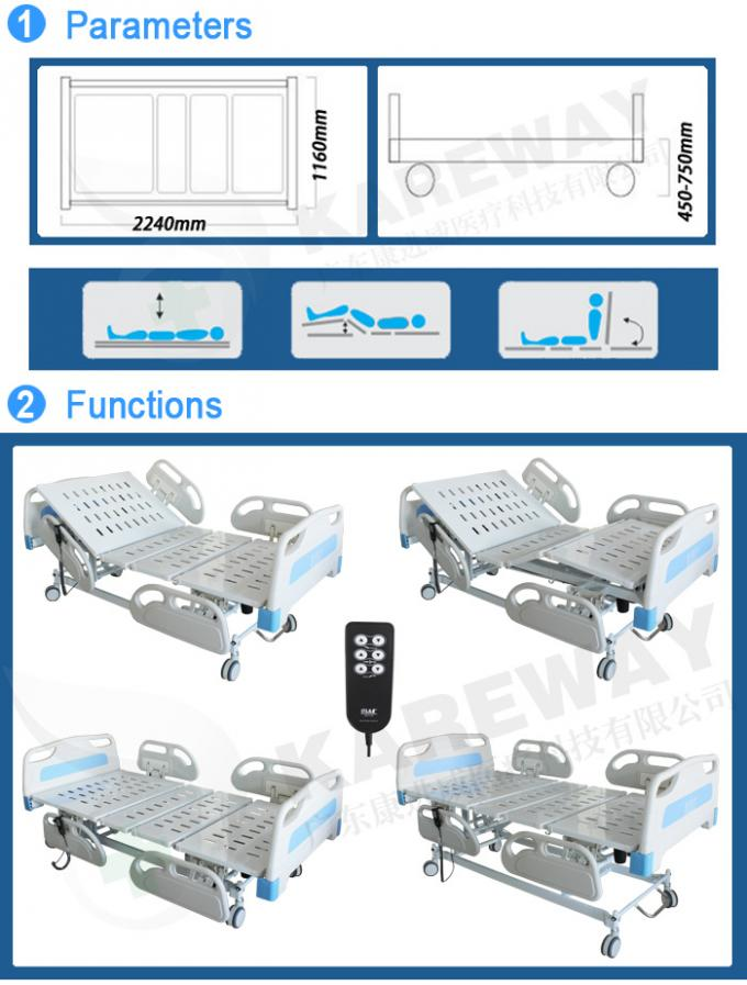 Three Positions Portable Hospital Bed Emergency Manual Crank