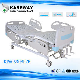 China 5 Inches Castors PP Side Rails 3 Cranks Manual Hospital Bed for ICU Room supplier