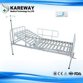 China Single Crank Manual Hospital Patient Bed With Mattress , Powder Coated Steel supplier