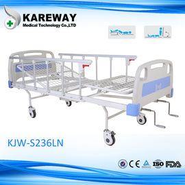 Iron Aluminum Side Rails Manual Hospital Bed Two Cranks For Medical Hospital Furniture