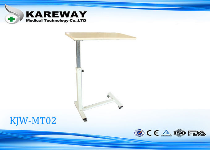 Superior China Over Bed Hospital Mobile Tray Table Brown Color With Lift Mechanism  KJW MT02 Supplier