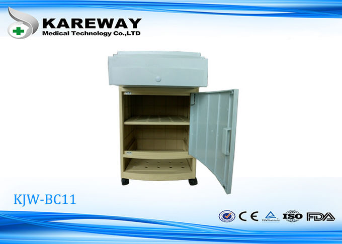 Elegant Light Blue Hospital Bedside Table Cabinet With Shoe Shelf KJW-BC11